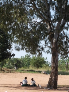 A game of Jacks under a tree.