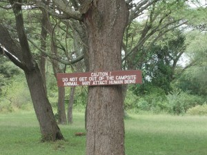 The welcome sign that greets travellers to the gate to the Serengeti.