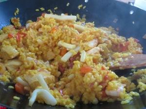 Freshly cooked paella
