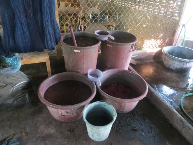 Pots of natural dye.